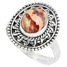 3.01cts natural brecciated jasper 925 silver solitaire ring size 7 p63253