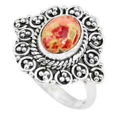3.35cts natural brecciated jasper 925 silver solitaire ring size 7.5 p63254