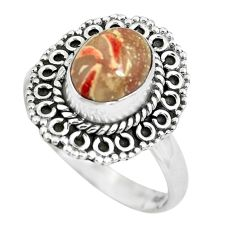 3.06cts natural brecciated jasper 925 silver solitaire ring size 8 p63255