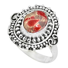 3.28cts natural brecciated jasper 925 silver solitaire ring size 7.5 p63256