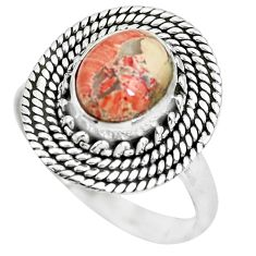 3.47cts natural brecciated jasper 925 silver solitaire ring size 8.5 p63257