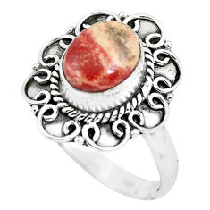 3.07cts natural brecciated jasper 925 silver solitaire ring size 8 p63260