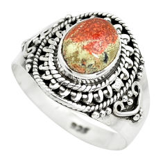 3.13cts natural brecciated jasper 925 silver solitaire ring size 8.5 p71861