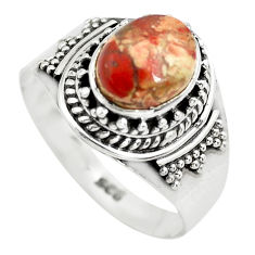 3.28cts natural brecciated jasper 925 silver solitaire ring size 8 p71862