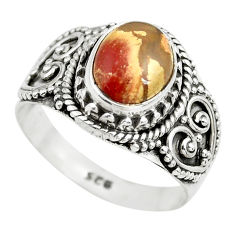 3.13cts natural brecciated jasper 925 silver solitaire ring size 7 p71863