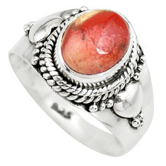 3.50cts natural brecciated jasper 925 silver solitaire ring size 6.5 p71865