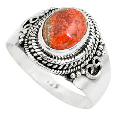 3.19cts natural brecciated jasper 925 silver solitaire ring size 8 p71866