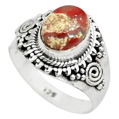3.19cts natural brecciated jasper 925 silver solitaire ring size 7 p71868