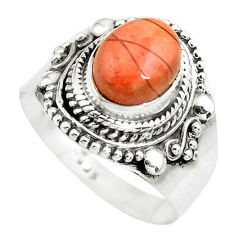 3.16cts natural brecciated jasper 925 silver solitaire ring size 8 p71869