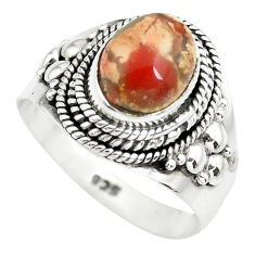 3.28cts natural brecciated jasper 925 silver solitaire ring size 7 p71870
