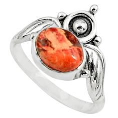 3.14cts natural brecciated jasper 925 silver solitaire ring size 8.5 p79151