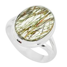 7.90cts natural bronze tourmaline rutile 925 silver solitaire ring size 7 p55607