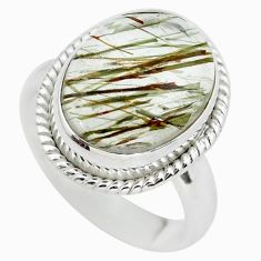 7.12cts natural bronze tourmaline rutile 925 silver solitaire ring size 7 p55632