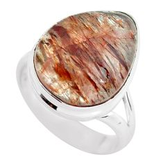 12.34cts natural bronze tourmaline rutile silver solitaire ring size 7 p55564
