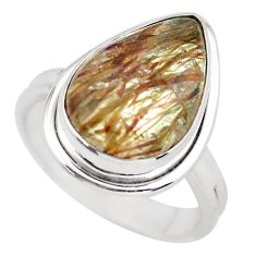 9.30cts natural bronze tourmaline rutile silver solitaire ring size 8.5 p55587