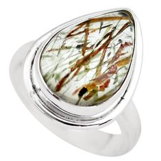 9.09cts natural bronze tourmaline rutile silver solitaire ring size 7.5 p55590