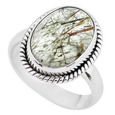 6.02cts natural bronze tourmaline rutile silver solitaire ring size 7.5 p55614