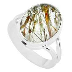 10.24cts natural bronze tourmaline rutile silver solitaire ring size 7.5 p55622