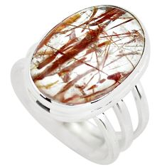 14.21cts natural bronze tourmaline rutile silver solitaire ring size 8 p55652