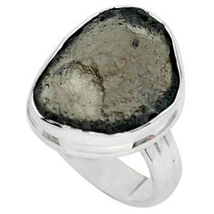 13.27cts natural brown agni manitite 925 silver solitaire ring size 6.5 p68412