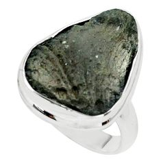 14.72cts natural brown agni manitite 925 silver solitaire ring size 7.5 p68419