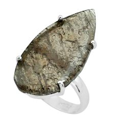 14.47cts natural brown agni manitite 925 silver solitaire ring size 8 p68660