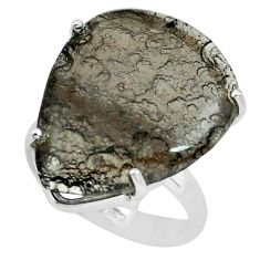 13.70cts natural brown agni manitite 925 silver solitaire ring size 6 p68663