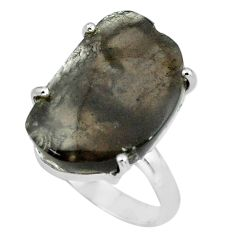 13.70cts natural brown agni manitite 925 silver solitaire ring size 8 p68680