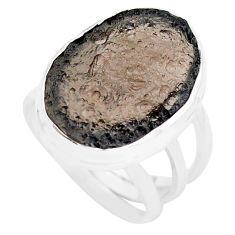 15.76cts natural brown agni manitite 925 silver solitaire ring size 8 p74298