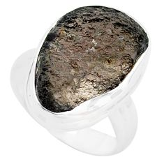 11.27cts natural brown agni manitite 925 silver solitaire ring size 6.5 p74300
