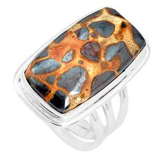 18.15cts natural brown bauxite 925 silver solitaire ring jewelry size 8.5 p32922