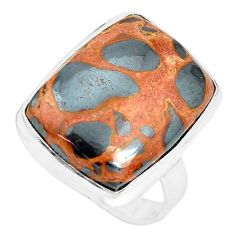 16.15cts natural brown bauxite 925 silver solitaire ring jewelry size 9 p32923
