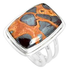 17.18cts natural brown bauxite 925 silver solitaire ring jewelry size 9 p32925