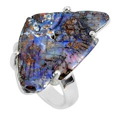 14.23cts natural brown boulder opal carving 925 silver fish ring size 6.5 p46593