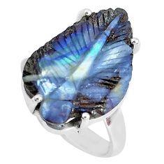 14.72cts natural brown boulder opal carving 925 silver leaf ring size 8.5 p46619