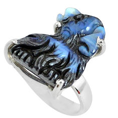 18.15cts natural brown boulder opal carving 925 silver ring size 6.5 p46594