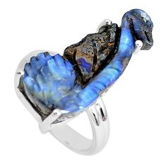 16.20cts natural brown boulder opal carving 925 silver ring size 7.5 p46620