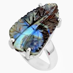 13.70cts natural brown boulder opal carving 925 silver ring size 6.5 p46634