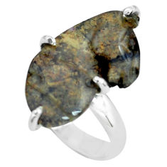 9.86cts natural brown boulder opal carving 925 silver ring size 5 p69412