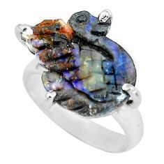 9.77cts natural brown boulder opal carving 925 silver ring size 6 p69420
