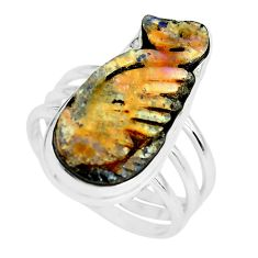11.62cts natural brown boulder opal carving silver solitaire ring size 9 p65581