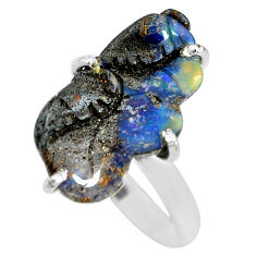 11.66cts natural brown boulder opal carving silver solitaire ring size 10 p69302