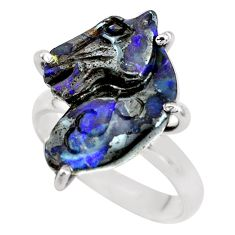 12.91cts natural brown boulder opal carving silver solitaire ring size 9 p69309