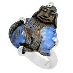 10.76cts natural brown boulder opal carving silver solitaire ring size 7 p69310