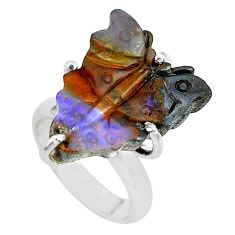 12.52cts natural brown boulder opal carving silver solitaire ring size 5 p69311