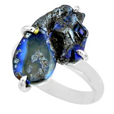11.07cts natural brown boulder opal carving silver solitaire ring size 10 p69321