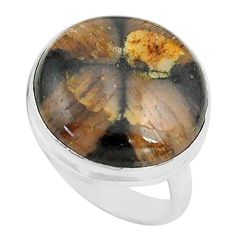 17.57cts natural brown chiastolite 925 silver solitaire ring size 7.5 p80580