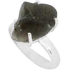 9.56cts natural brown chintamani saffordite silver solitaire ring size 7 p68752