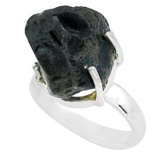 9.99cts natural brown chintamani saffordite silver solitaire ring size 6 p68768