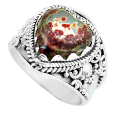 6.02cts natural brown coffee bean jasper 925 silver solitaire ring size 8 d32145